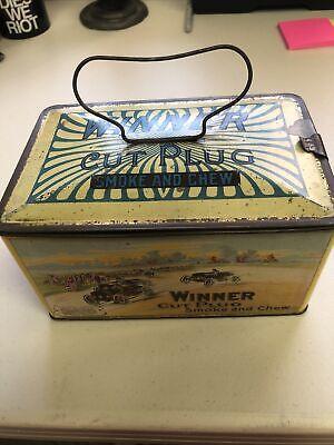 vintage winner cut plug tabacco tin Rare
