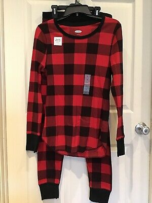 NWT Old Navy Sz L Black & Red Buffalo Check Knit Long John Pajama Set Long John Pjs