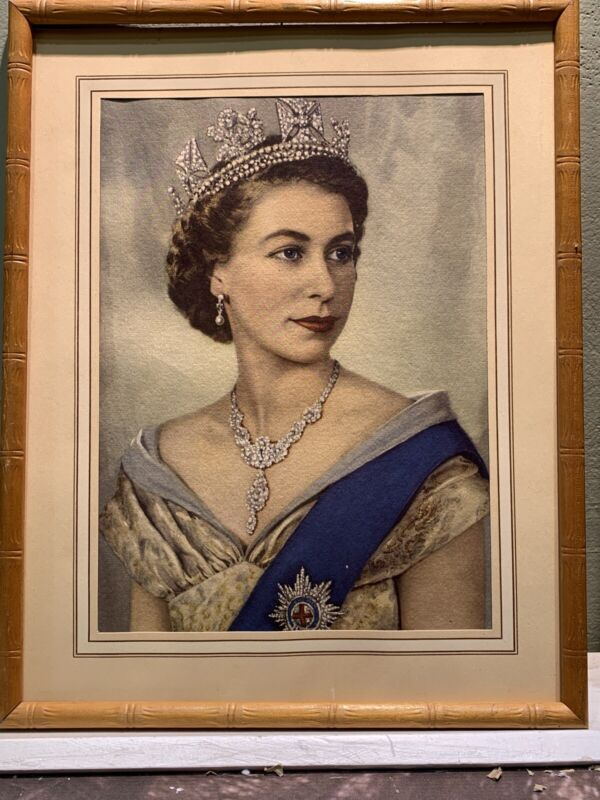 Vintage Queen Elizabeth Coronation 1953 Hand Tinted Portrait Matted Framed