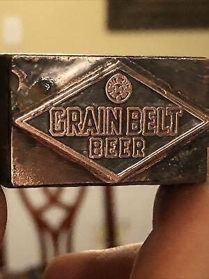 Vintage Wood Metal Metal Printing Print Block Stamps Crain Belt Beer