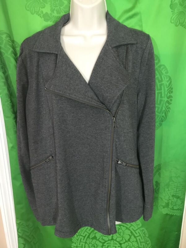 A Pea In The Pod Jacket Gray Fleece Zip Large Maternity
