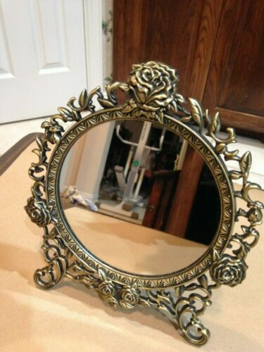 Ornate Victorian dresser top vanity mirror with roses motif (easel style)