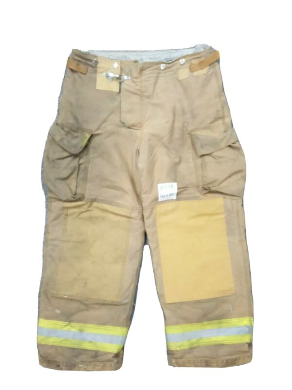 40X30 Brown Securitex Firefighter Turnout Bunker Pants Yellow Reflective P1179