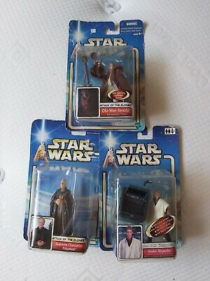 Star Wars Attack Of The Clones Figures X3 Bundle Creased Card