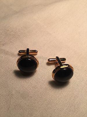 - vintage handmade Golden Black Onyx Stainless Steel Cufflinks