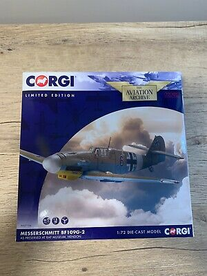 """Corgi AA27104 Messerschmitt Bf 109G Diecast Model Luftwaffe 8./JG 77, """"Black 6"""""""