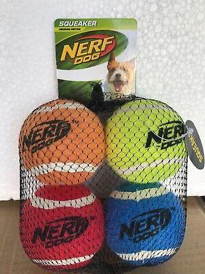 Nerf Dog Medium Squeaker Tennis Ball Dog Toy (4 Pack)  / 367