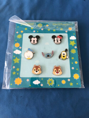 CUTIES HEADS Disney Pin SET of 7 2010  FAB 5 CHIP DALE STITCH AUTHENTIC New card