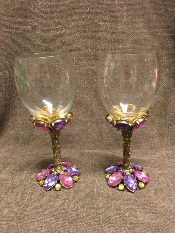 Vintage 2 Saints Swarovski Jewelded Crystal Wine Goblet Gladses