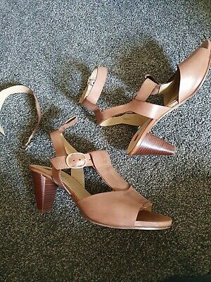 Hogl tan leather wooden look heel sandals, size 6.5, Vgc