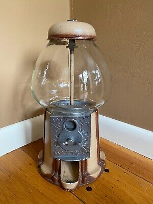 Vintage Metal Glass Gumball Machine 15 in Tall Tabletop Made In USA