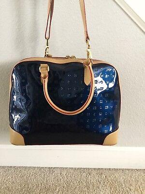 Arcadia Handbag Electric Ocean Blue Tan Trim Satchel
