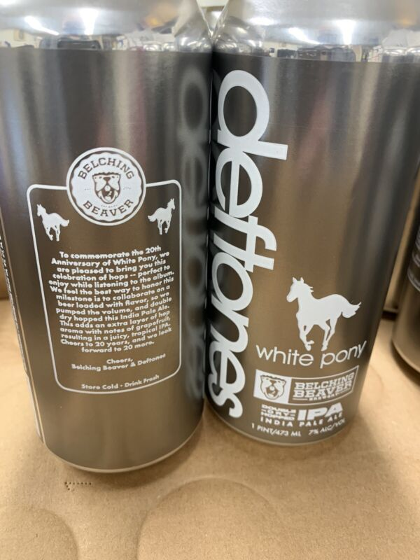 Deftones Belching Beaver White Pony IPA 4 pack NEW *EMPTY* Sold Out!!