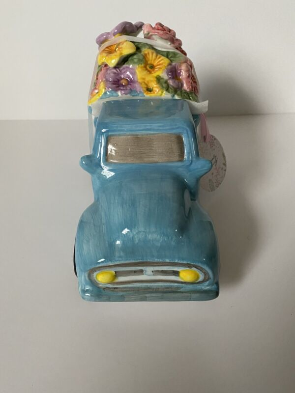 Spring Blue Ceramic Truck Canister
