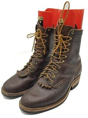 White's Hathorn Brown Leather Roper Vibram Sole Men's Work Boots Size 10.5 D