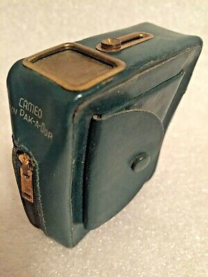 Vtg Antique Pak-A-Dor Cameo Slide Top Zipper Cigarette Pack Holder Case Leather