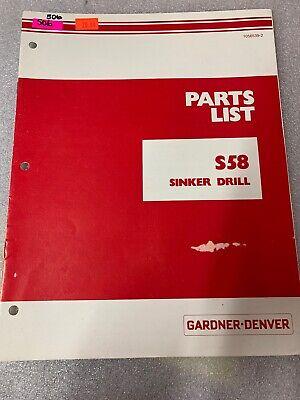 Gardner Denver S58 Sinker Drill Parts List Manual 506