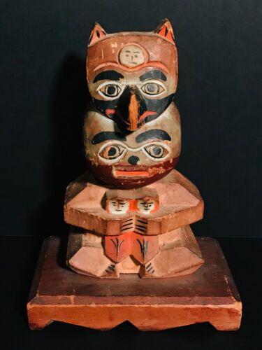"Unusual 7.5"" NW Coast Carved Cedar Totem Figures on Base, Excellent, c1930, NR"