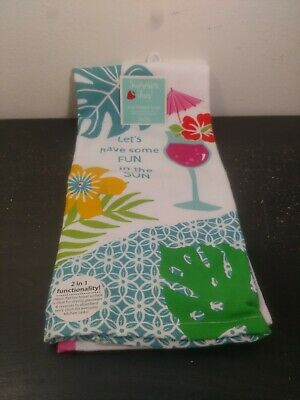 Kay Dee Designs Summer Fun! Dual Purpose Towel 16 Inch by 26 Inch Cotton NWT