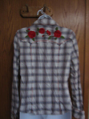 Western Style Rose Embroidered Womens shirt small Jolie & (Jolie Style)