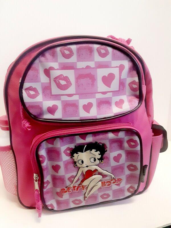 "Betty Boop Pink Girls Backpack 12"" School Book Bag for Kids w Free Water Bottle"