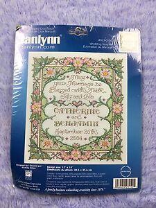 Janlynn Stamped Cross Stitch Kit Wedding Sampler New