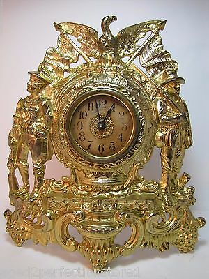 Antique early 1900s ARMY NAVY AMERICAN EAGLE Figural Cast Iron Brass Wash Clock