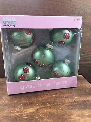 "5 Martha Stewart Everyday Glass Christmas Ornaments 2008 Festive Confections 2"""