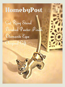 NEW Silver Pewter Cat Ring Stand Earring Jewellery Holder Display Diamante Eyes