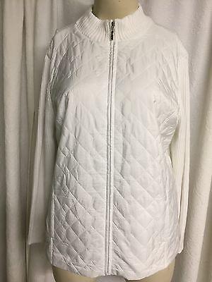 Croft & Barrow White Zip Front Sweater Coat Women's Plus Size 2x