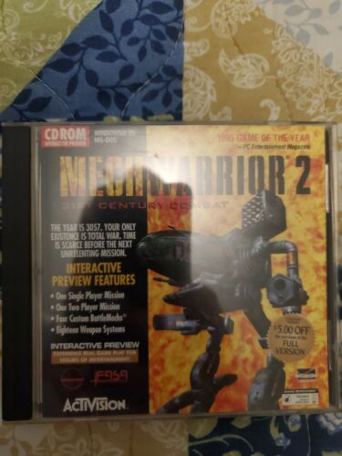 Computer Games - Mech Warrior 2 CDROM PC Computer Game video vintage windows 95 ms-dos activision