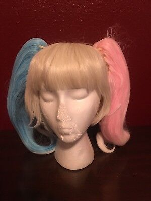 ley Quinn Look 3 Color Pigtail Wig With Clip On Pigtails  (Harley Quinn Look)