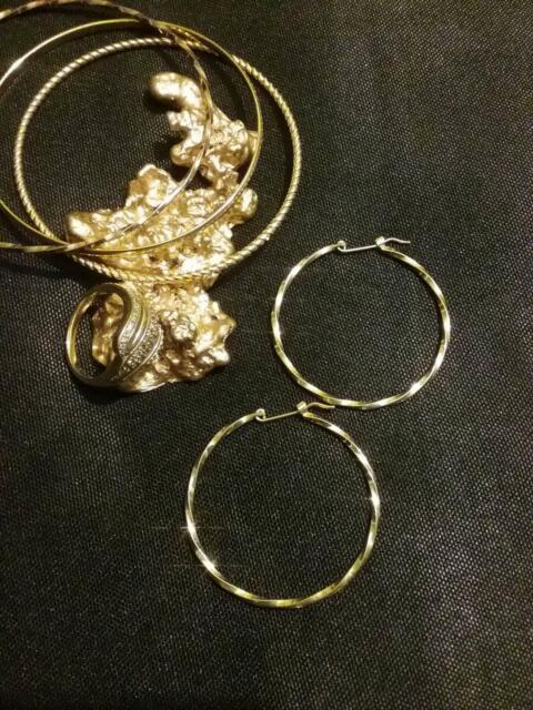 209389244ff85 22ct Yellow Gold,Solid 9ct Gold Filled Large 38mm Hoop Earrings ...