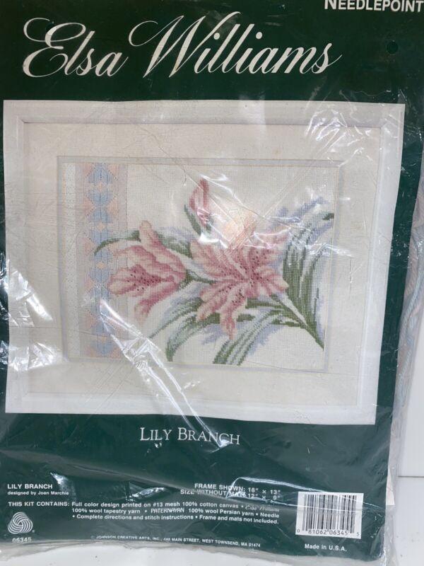 Elsa Williams Lily Branch Needlepoint Kit #06345 Cotton Canvas