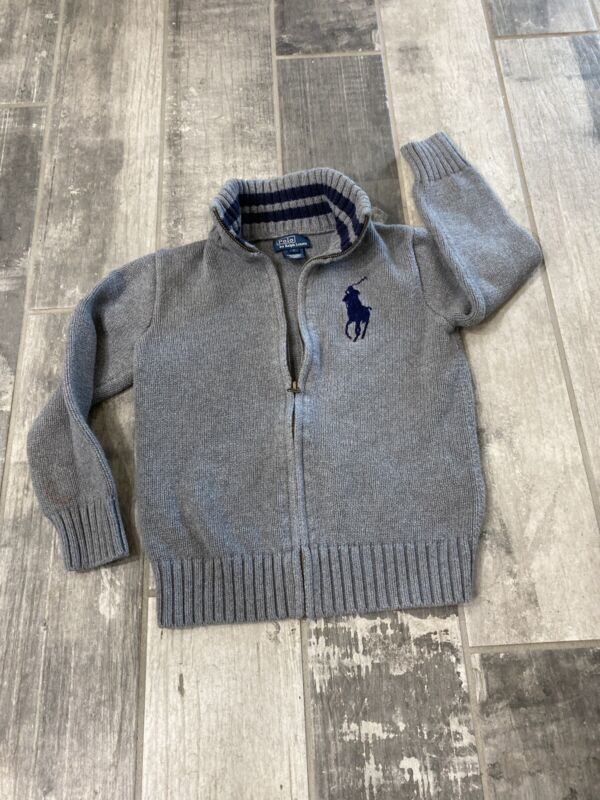 NWT Polo Ralph Lauren RL Boys Gray Sweater Cardigan Zip Up Blue Big Pony Size 7