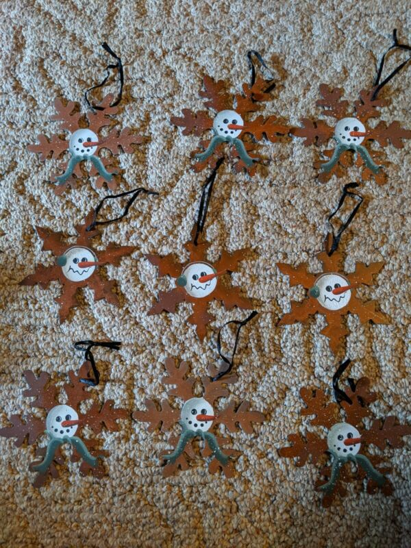 9 Rustic PRIMATIVE Snowman Ornaments NEW