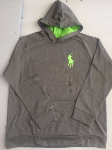 NWT RALPH LAUREN YOUTH BOYS LONG SLEEVES FLEECE HOODIE/PULL OVER GRAY