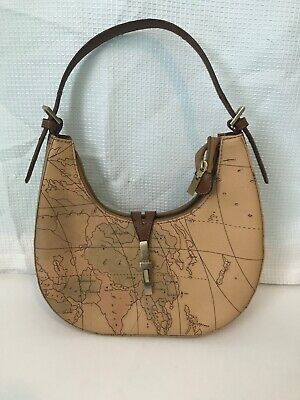 - Faux Leather Antique Map Print Shoulder Purse Tan Brown