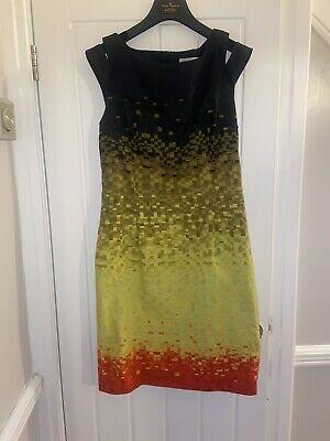 Karen Millen Black/yellow/orange Dress Size 14