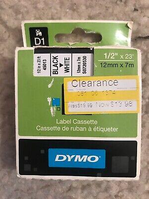 Dymo D1 45013 Label Cassette Tape Black Print On White Tape - Free Shipping