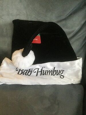 CVS MERRY BRIGHT ADULT BAH HUMBUG BLACK & WHITE SANTA HAT - NEW WITH TAGS - Bah Humbug Halloween