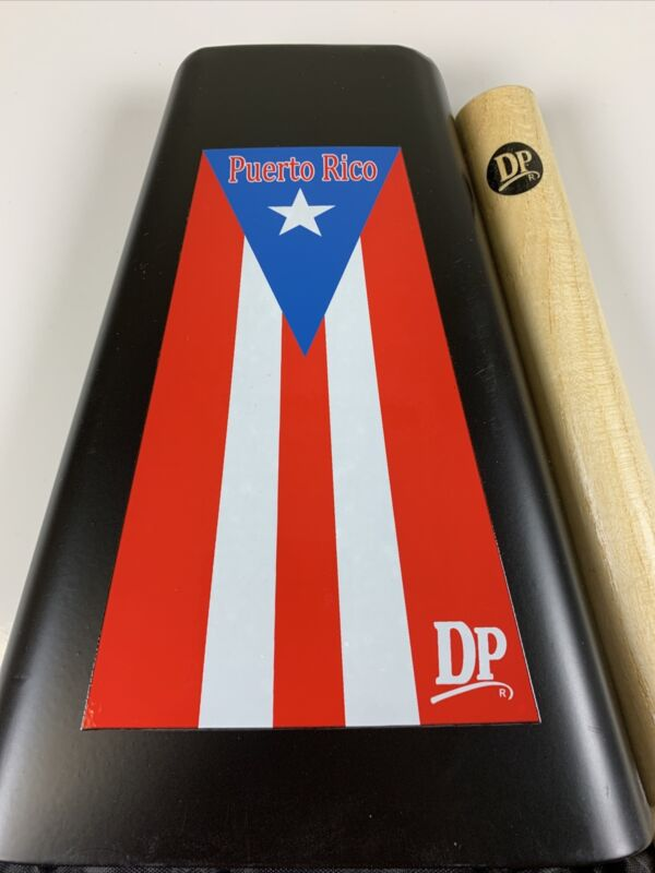 Cowbell Package Salsa Handheld Bell With Puerto Rico Flag Sticker, Bag And Stick