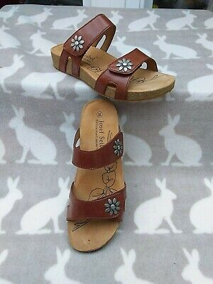 Josef Seibel Tonga Daisy Camel Leather Sandals, Size 5 NEW