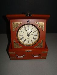 BULOVA Desk Mantel Table Top Clock, Wood Walnut, Veneer Case B7450 Edinbridge