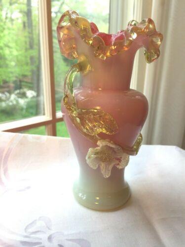 Antique Victorian Stevens & Williams Cased Pink Art Glass Applied Floral Vase