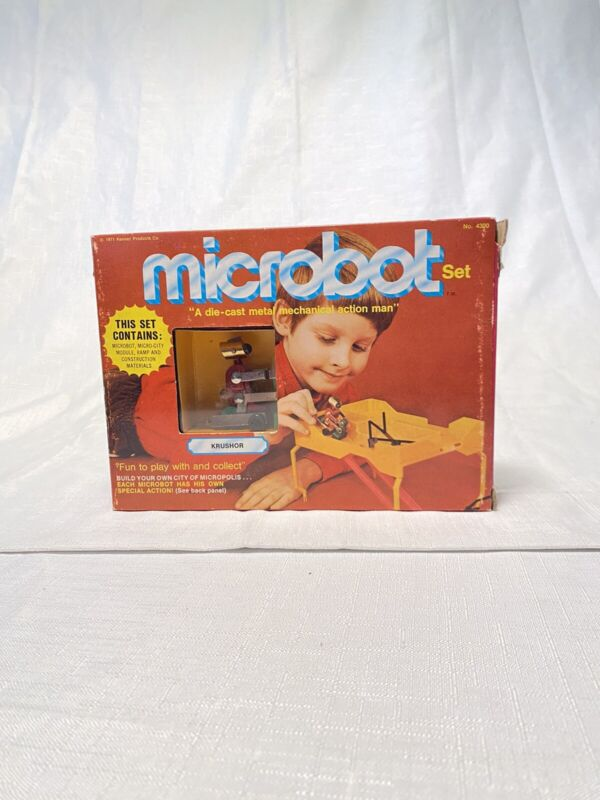 SUPER RARE KENNER 1971 MICROBOTS 'KRUSHOR' Play Set DIECAST ROBOT Toy Boxed