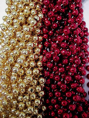 49ers 1 dozen Red Gold Superbowl Mardi Gras Party Favors Football Beads Tailgate - Superbowl Party Favors
