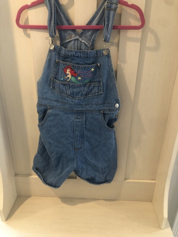 """Disney Girls Size 14 Jean Shorts Overalls """"Clear Enough To See Forever"""" RARE"""