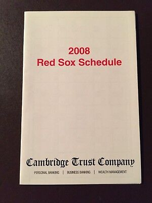 Boston Red Sox 2008 Mlb Pocket Schedule   Cambridge Trust