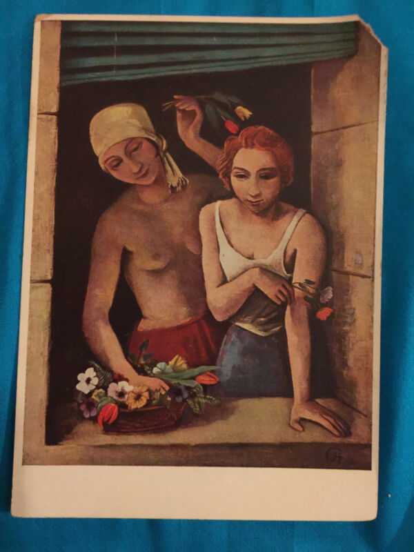 Girls Throwing Flowers  K Hofer Vintage Postcard Art FIGURES PORTRAITS MUCHEN